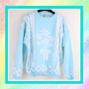 Vintage 80s Flower Bouquet Light Blue Sweater L